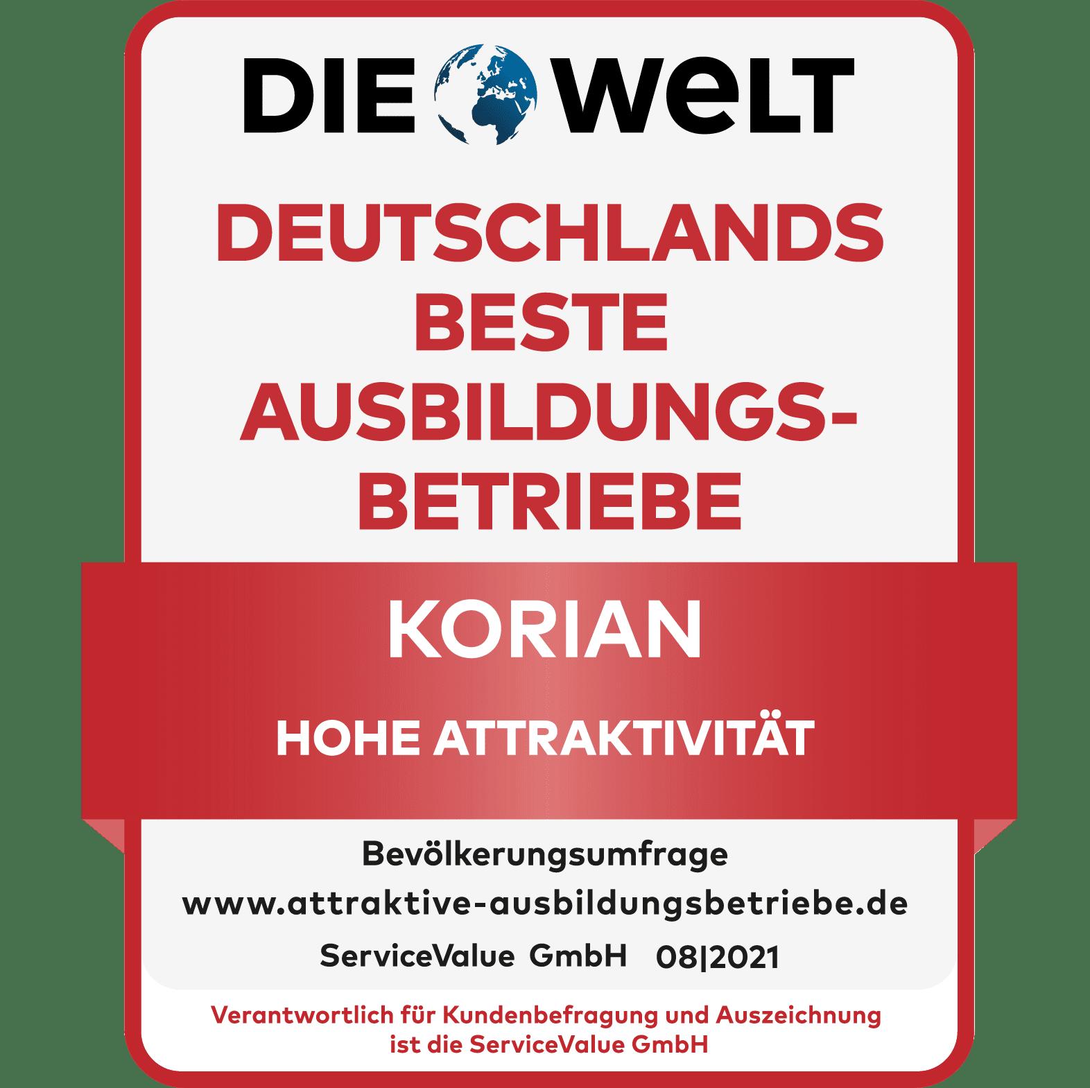 Korian Deutschland - ausgezeichnet als bester Ausbildungsbetrieb