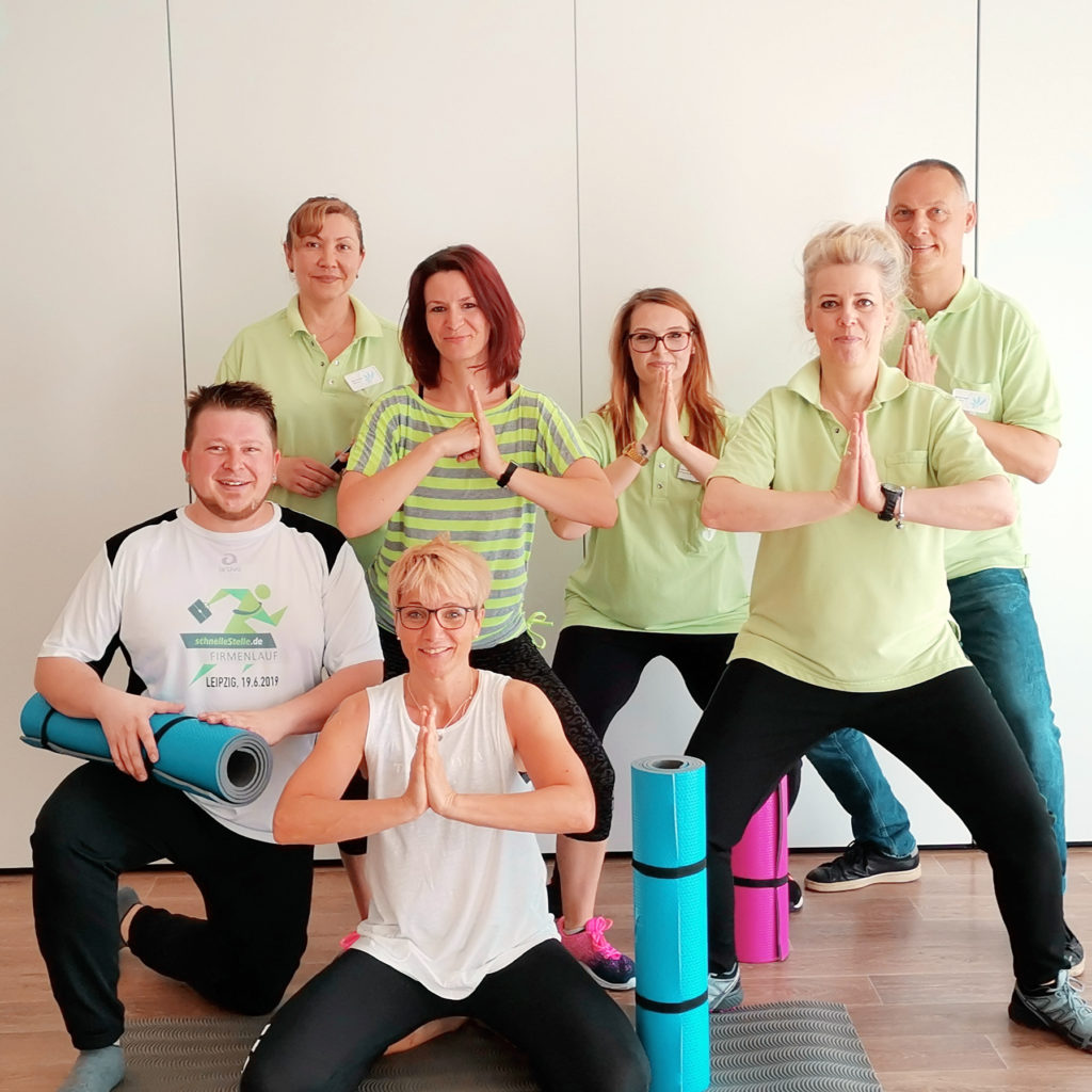Die Mitarbeiterinnen und Mitarbeiter aus dem KORIAN-Pflegeheim in Leipzig finden das Sportangebot am Arbeitsplatz super.